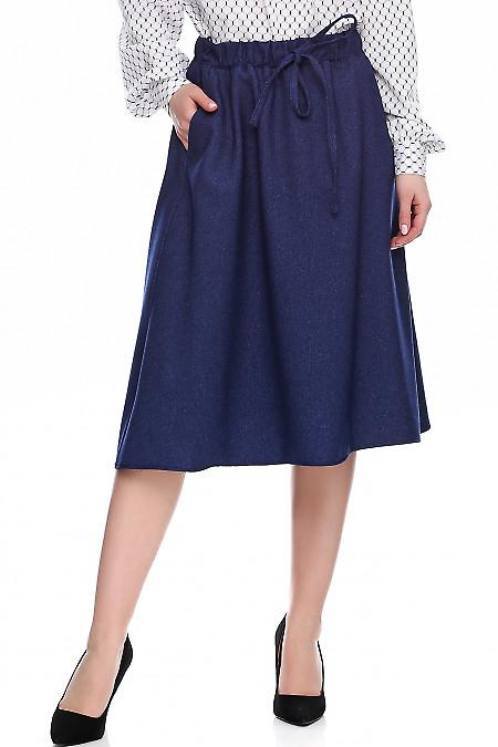 Купить теплую синюю юбку в рубчик. Деловая женская одежда фото