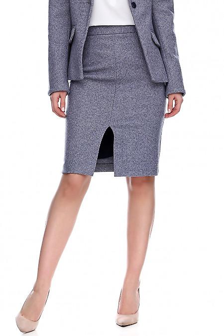 Купить теплую юбку в синюю полоску. Деловая женская одежда фото