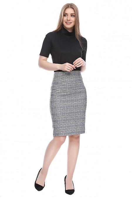 Юбка в черно-белую клетку Деловая женская одежда фото