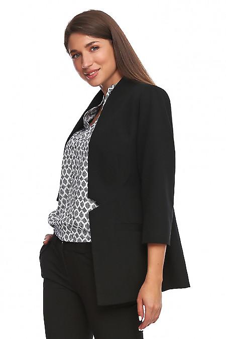 Купить жакет черный без застежки. Деловая женская одежда фото