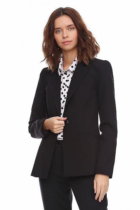 Купить Чёрный удлиненный женский жакет.Деловая женская одежда фото