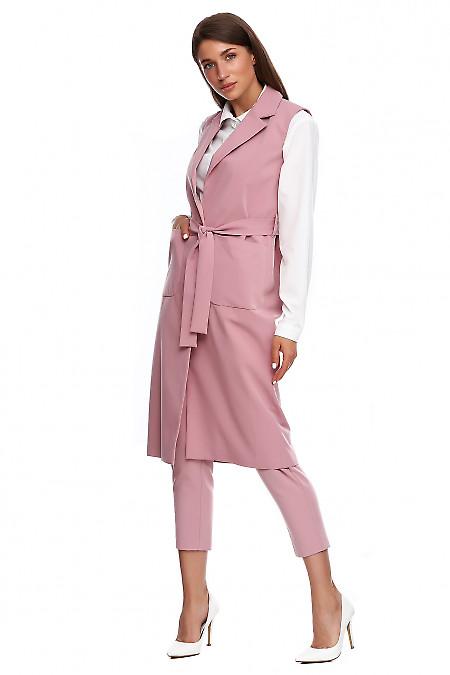 Купить жилет длинный бледно-розовый. Деловая женская одежда фото