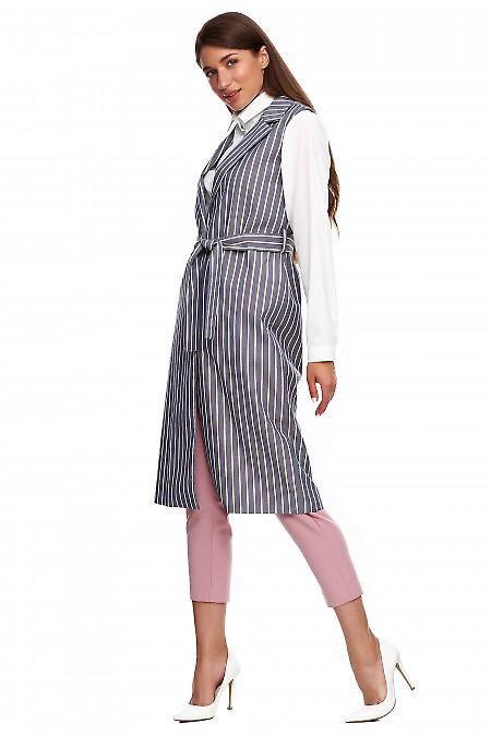 Купить жилет длинный в полоску с поясом. Деловая женская одежда фото