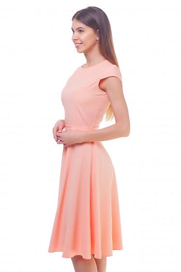 Купить платье персиковое пышное с рукавчиком Деловая женская одежда