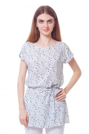 Туника белая в синий узор Деловая женская одежда