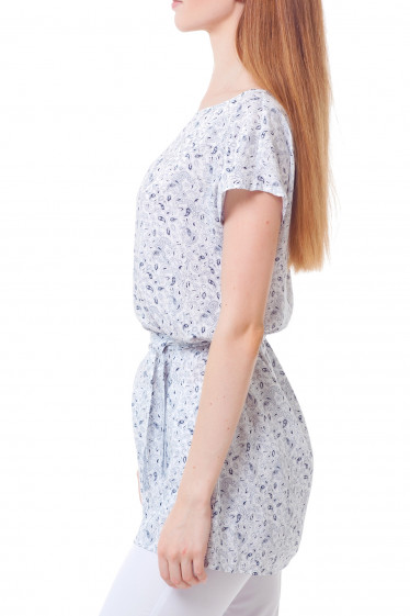 Купить тунику белую в синий узор Деловая женская одежда