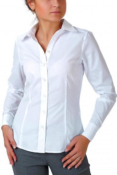 Фото Рубашка белая классическая с планочкой  вид спереди Деловая женская одежда