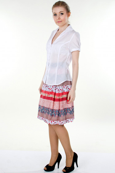 Фото Блузка  белая с коротким рукавом вид сбоку Деловая женская одежда
