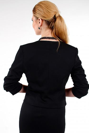 Фото Болеро черное трикотажное вид сзади Деловая женская одежда