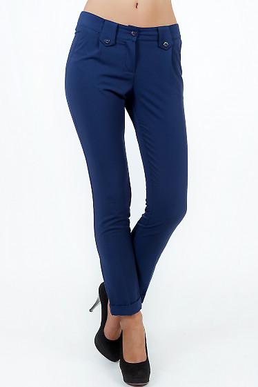 Фото Брюки синие с манжетой вид спереди Деловая женская одежда