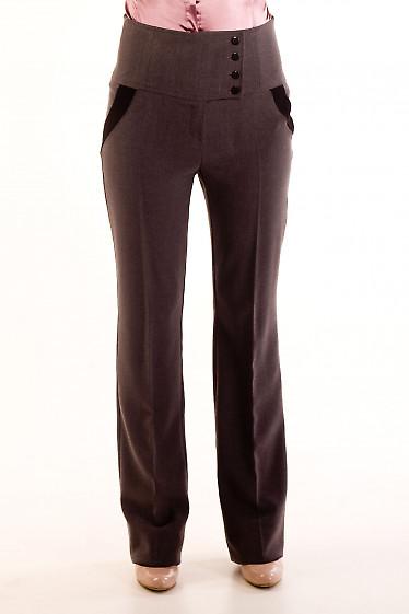 Фото Брюки теплые темно-серые Деловая женская одежда