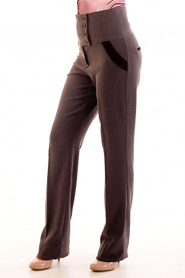 Фото Брюки теплые темно-серые. Вид сбоку Деловая женская одежда