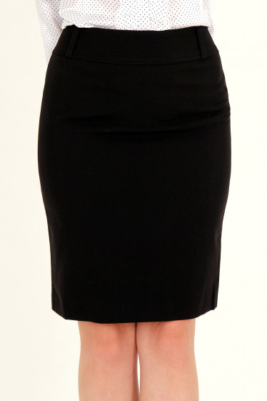 Фото Юбка черная с отделочной строчкой Деловая женская одежда