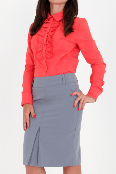 Фото Юбка с бантовой складкой светло-серая Деловая женская одежда