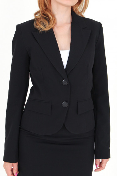 Фото Жакет черный с английским воротником вид спереди Деловая женская одежда
