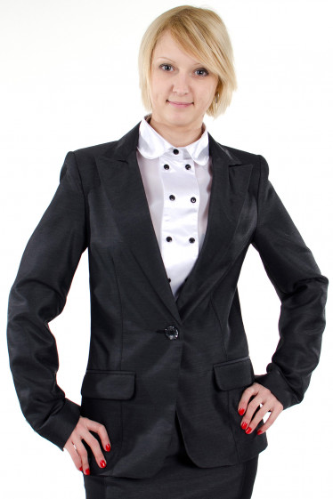 Фото Жакет с вставками черными. Деловая женская одежда