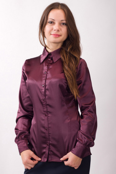 Фото Блузка атласная бордовая Деловая женская одежда
