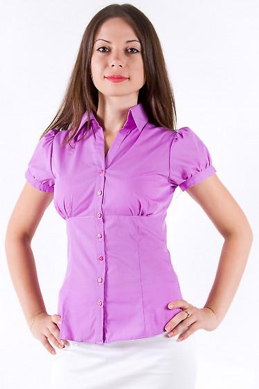 Фото Блузка из сиреневого хлопка Деловая женская одежда