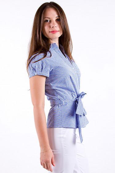 Фото Блузка летняя в синюю клетку Деловая женская одежда
