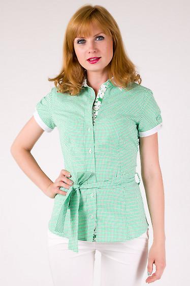 Фото Блузка в зеленую клеточку Деловая женская одежда