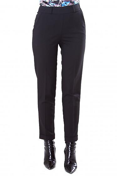 Фото Брюки черные с молнией сбоку Деловая женская одежда
