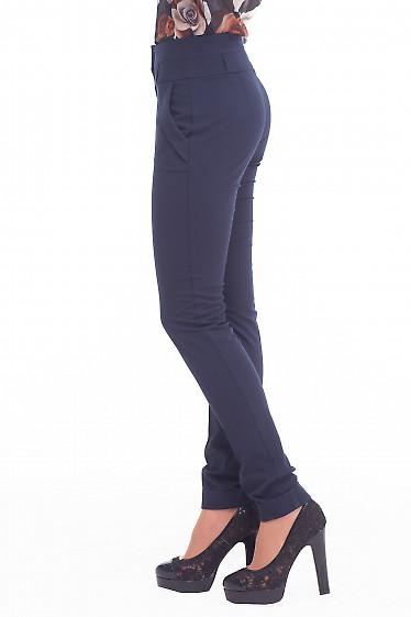 Купить сииние брюки с манжетой Деловая женская одежда