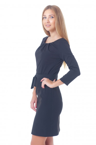 Купить черное платьес защипами Деловая женская одежда