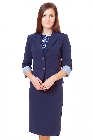 Жакет синий с полосатой манжетой Деловая женская одежда