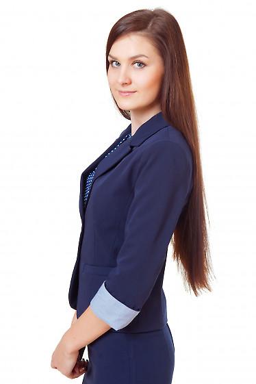 Купить синий жакет с полосатой манжетой Деловая женская одежда