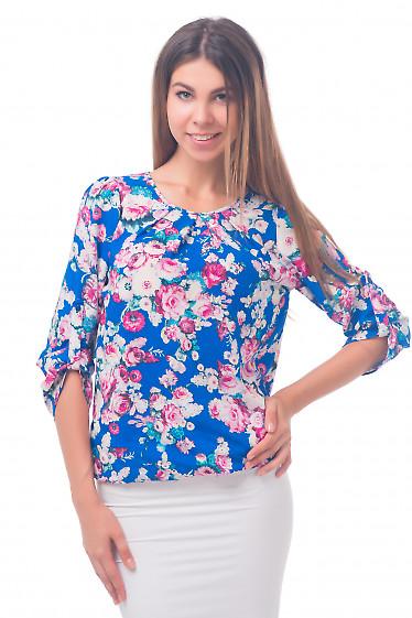 Фото Блузка на резинке синяя в цветы Деловая женская одежда
