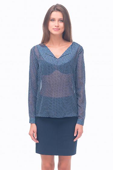 Блузка синяя в белый горошек без пуговиц Деловая женская одежда