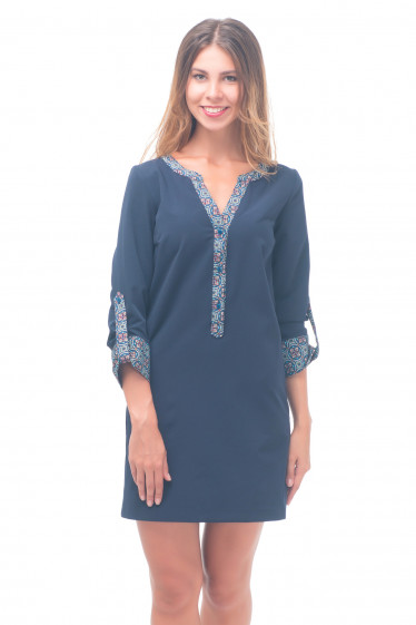 Платье синее с цветной планкой Деловая женская одежда