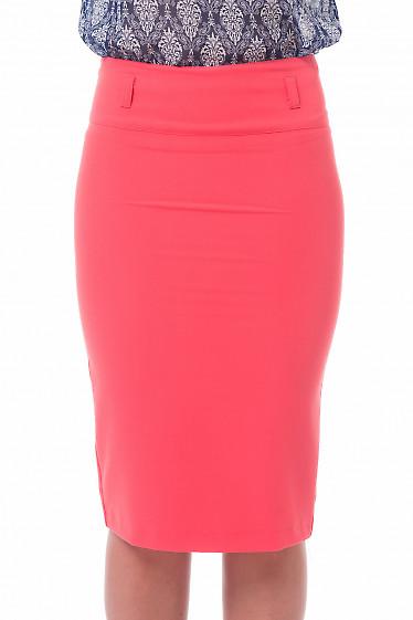 Юбка-карандаш коралловая с высокой талией Деловая женская одежда