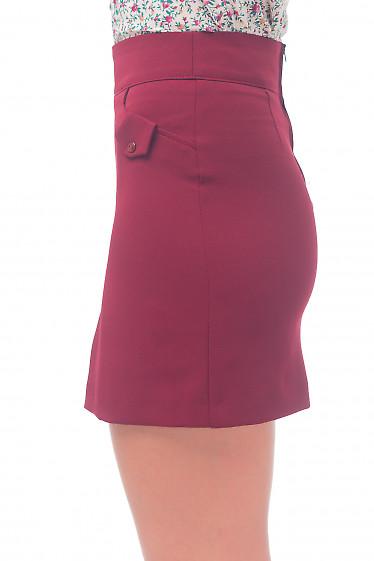 Купить юбку-трапецию короткую бордовую Деловая женская одежда