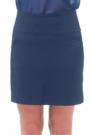 Юбка-трапеция синяя с карманами Деловая женская одежда