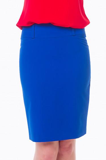 Юбка цвета индиго со строчкой на поясе Деловая женская одежда