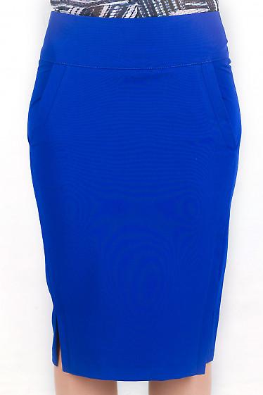 Фото Юбка с карманами ярко-синяя Деловая женская одежда