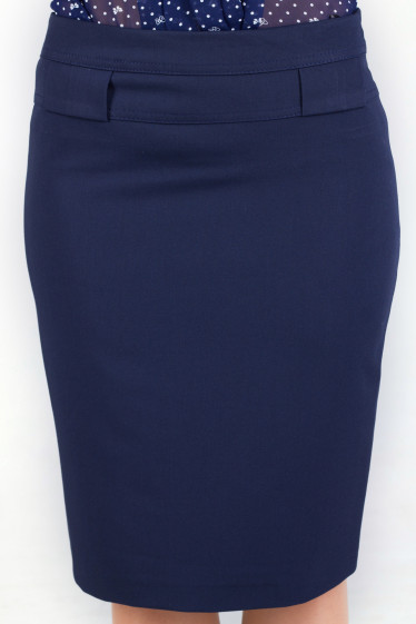 Фото Юбка синяя с разрезом Деловая женская одежда