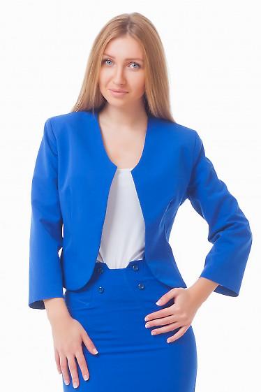 Жакет-болеро синего цвета Деловая женская одежда