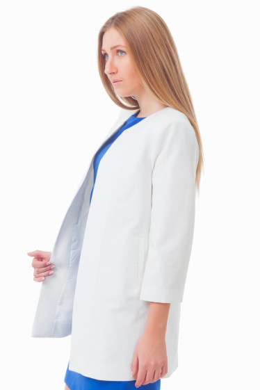 Купить молочный удлиненный жакет Деловая женская одежда