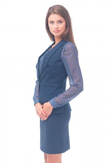 Купить жилетку синюю удлиненную Деловая женская одежда