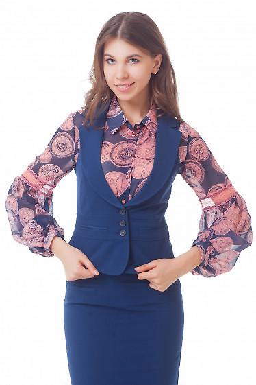 Жилетка женская синяя  Деловая женская одежда