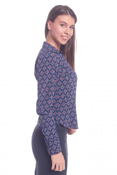 Купить блузку синюю в красно-оранжевый узор. Деловая женская одежда