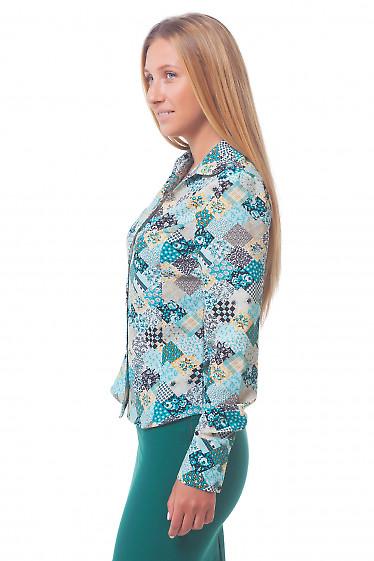 Купить блузку в бирюзовые платочки Деловая женская одежда