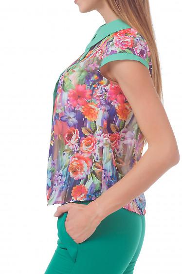 Купить блузку в зеленые цветы с воротником Деловая женская одежда