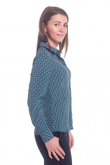 Купить блузку зеленую в кружочки Деловая женская одежда