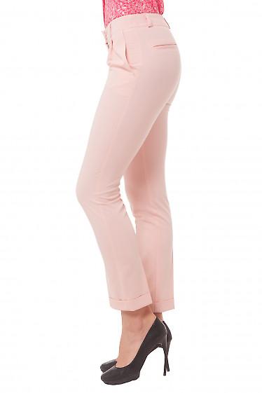 Купить брюки розовые с манжетой Деловая женская одежда