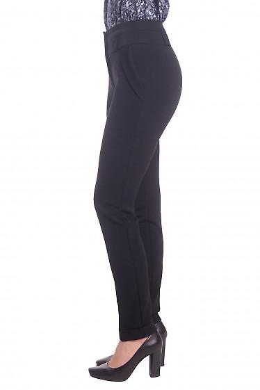 Купить брюки теплые черные с манжетой Деловая женская одежда