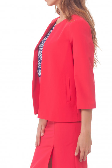 Купить кардиган коралловый с карманами Деловая женская одежда