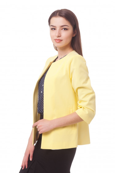 Купить кардиган желтый с карманами Деловая женская одежда
